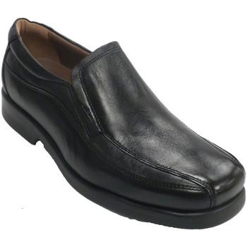Sapatos Homem Mocassins Fleximax Sapatos lisos de cnpala e costuras laterais.  em Preto negro