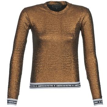 Textil Mulher T-shirt mangas compridas American Retro ALLAN Ouro