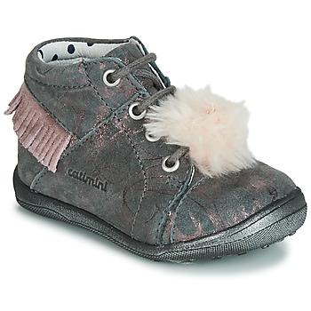 Sapatos Rapariga Sapatilhas de cano-alto Catimini PEPITA Cinzento - castanho / Rosa