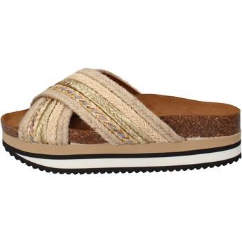 Sapatos Mulher chinelos 5 Pro Ject sandali beige tessuto oro AC586 Beige