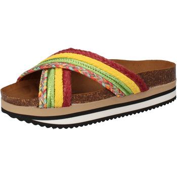 Sapatos Mulher chinelos 5 Pro Ject sandali verde tessuto giallo AC589 Multicolore