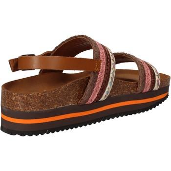 Sapatos Mulher Sandálias 5 Pro Ject sandali rosa tessuto marrone AC592 Rosa