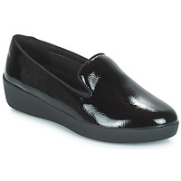 Sapatos Mulher Mocassins FitFlop AUDREY SMOKING SLIPPERS CRINKLE PATENT Preto