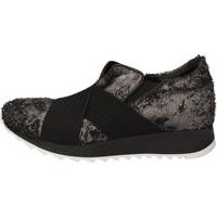Sapatos Mulher Sapatilhas Andia Fora sneakers argento tessuto nero pelle AD326 Nero