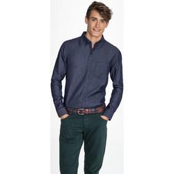 Textil Homem Camisas mangas comprida Sols BARRY MEN DENIM Azul
