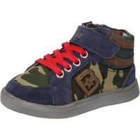 Sapatos Rapaz Sapatilhas de cano-alto Blaike sneakers blu camoscio verde pelle AD769 Multicolore