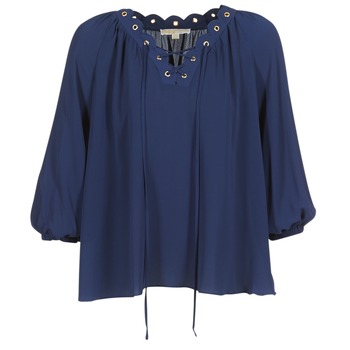 Textil Mulher Tops / Blusas MICHAEL Michael Kors SCALLP GRMT CHAIN TOP Marinho