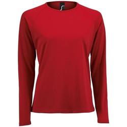 Textil Mulher T-shirt mangas compridas Sols SPORT LSL WOMEN Rojo