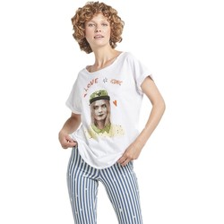 Textil Mulher T-Shirt mangas curtas Dear Tee Camiseta Mujer Cara Delevingne Iconic Branco