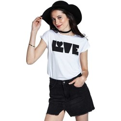 Textil Mulher T-Shirt mangas curtas Bicyclette A  Camiseta Mujer Love Blanca Branco