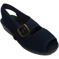 Sapatos Mulher Sandálias Nevada Sneakers tela grade mulher aberta toe e calcanhar com fivela no azul