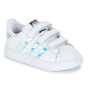 Sapatos Rapariga Sapatilhas adidas Originals SUPERSTAR CF I Branco / Prata