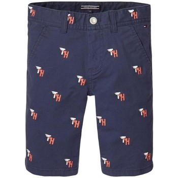 Textil Rapaz Shorts / Bermudas Tommy Hilfiger TH EMBROIDERED CHINO SHORT azul