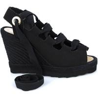 Sapatos Mulher Sandálias Mtbali Sandálias Tacão Compensado - Ibiza Black negro