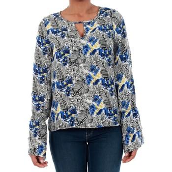 Textil Mulher T-shirt mangas compridas Vero Moda 10191090 VMMOLLY LS TOP SURF THE WEB Azul
