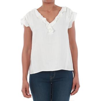 Textil Mulher T-Shirt mangas curtas Vero Moda 10196234 VMSEATTLE FRILL S/S TOP EXP SNOW WHITE Blanco