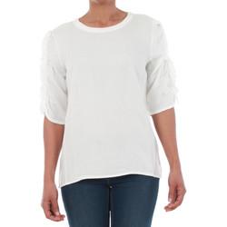 Textil Mulher T-Shirt mangas curtas Vero Moda 10196235 VMSEATTLE FRILL 2/4 TOP EXP SNOW WHITE Blanco