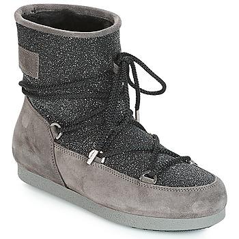 Sapatos Mulher Botas de neve Moon Boot FAR SIDE LOW SUEDE GLITTER Preto / Cinza