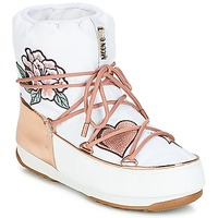 Sapatos Mulher Botas de neve Moon Boot PEACE & LOVE WP Branco / Rosa / Ouro