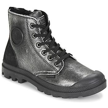 df8bf45e582 Sapatos Mulher Botas baixas Palladium PAMPA HI Preto   Prata