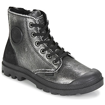 Sapatos Mulher Botas baixas Palladium PAMPA HI Preto / Prata