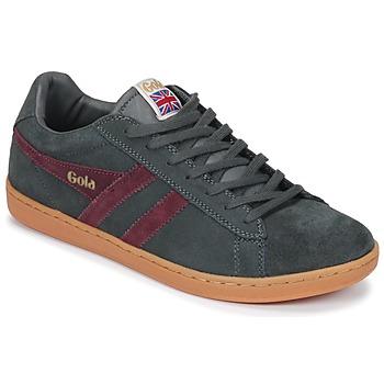 Sapatos Homem Sapatilhas Gola Equipe Suede Cinza / Bordô