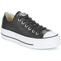 Sapatos Mulher Sapatilhas Converse CHUCK TAYLOR ALL STAR LIFT CLEAN OX LEATHER Preto / Branco