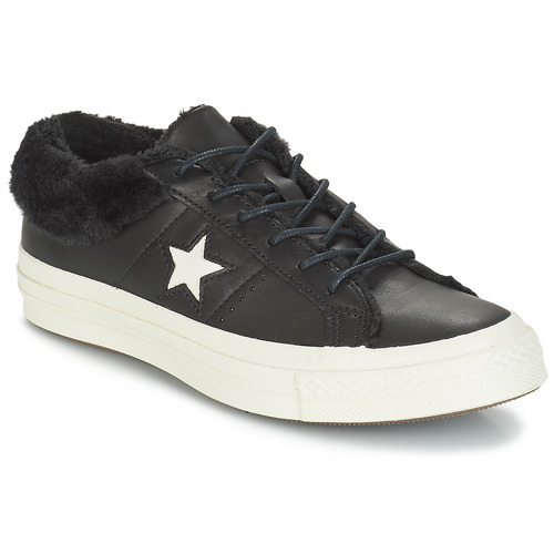 Sapatos Mulher Sapatilhas Converse ONE STAR LEATHER OX Preto