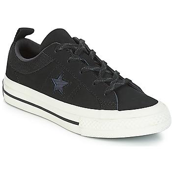 Sapatos Criança Sapatilhas Converse ONE STAR NUBUCK OX Preto / Branco