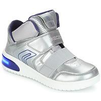 Sapatos Rapariga Sapatilhas de cano-alto Geox J XLED GIRL Prata