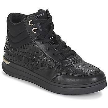 Sapatos Rapariga Sapatilhas de cano-alto Geox J AVEUP GIRL Preto / Ouro
