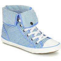 Sapatos Mulher Sapatilhas de cano-alto André GIROFLE Branco / Azul