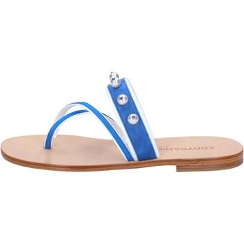 Sapatos Mulher Sandálias Eddy Daniele sandali blu camoscio bianco pelle swarovski aw06 Bianco