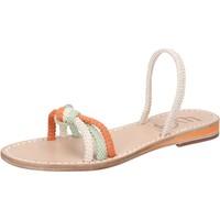 Sapatos Mulher Sandálias Eddy Daniele sandali bianco corda verde arancione aw479 Multicolore