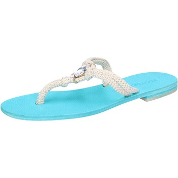 Sapatos Mulher Sandálias Eddy Daniele sandali bianco corda celeste swarovski aw509 Bianco