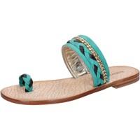 Sapatos Mulher Sandálias Eddy Daniele sandali verde camoscio marrone pelle ax720 Verde