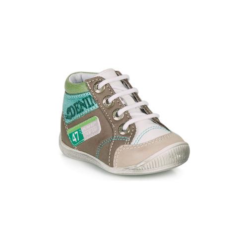 Sapatos Rapaz Botas baixas GBB PANCRACE Branco / Verde / Toupeira