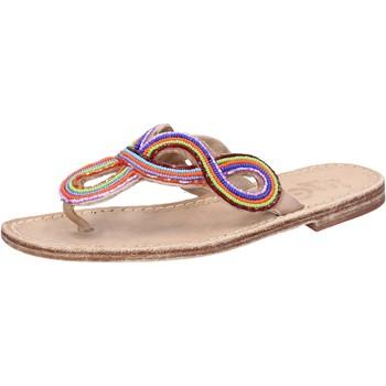 Sapatos Mulher Sandálias Eddy Daniele sandali multicolor pelle perline ax895 Multicolore