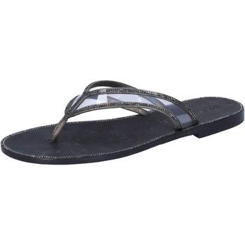 Sapatos Mulher Sandálias Eddy Daniele sandali grigio pelle nero plastica swarovski aw682 Grigio