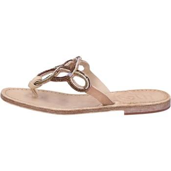 Sapatos Mulher Sandálias Eddy Daniele sandali cuoio pelle perline AS78 Marrone