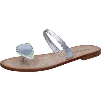 Sapatos Mulher Sandálias Eddy Daniele sandali argento pelle swarovski aw216 Argento