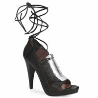 Sapatos Mulher Sandálias Sigerson Morrison STRUZZO Preto / Prateado