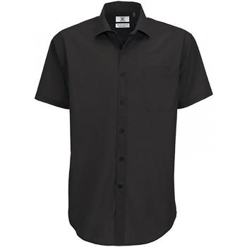 Textil Homem Camisas mangas curtas B And C SMP62 Preto