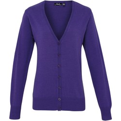 Textil Mulher Casacos de malha Premier Button Through Púrpura