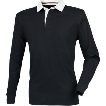 Textil Homem Polos mangas compridas Front Row FR104 Preto