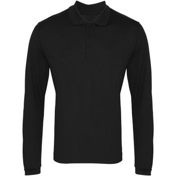 Textil Homem Polos mangas compridas Premier PR617 Preto