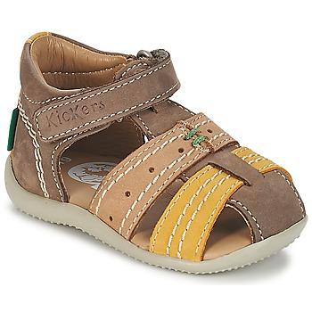Sapatos Rapaz Sandálias Kickers BIGBAZAR Castanho / Bege / Amarelo