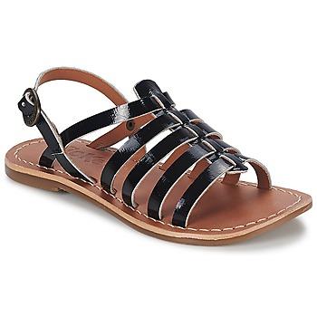 Sapatos Rapariga Sandálias Kickers DIXMILLION Preto / Verniz