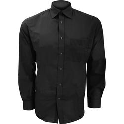 Textil Homem Camisas mangas comprida Kustom Kit KK104 Preto