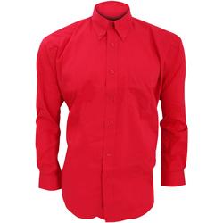 Textil Homem Camisas mangas comprida Kustom Kit KK105 Vermelho